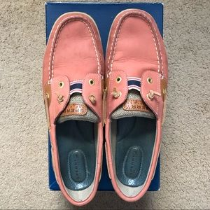 pink sperry top sider boat shoes